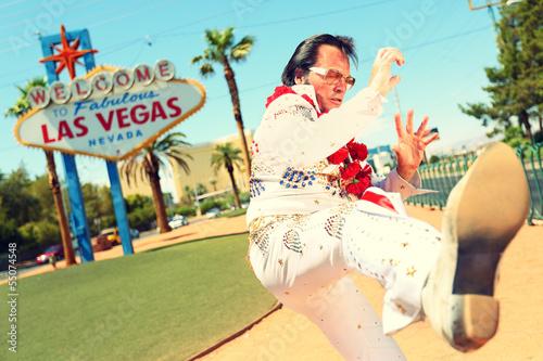 Fototapeta Elvis look-alike impersonator and Las Vegas sign