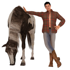 Country boy and horse