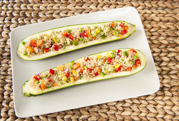 Zuchinis Stuffed with Quinoa Salad