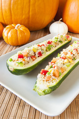 Thanksgiving Quinoa Salad Stuffed Zuchini