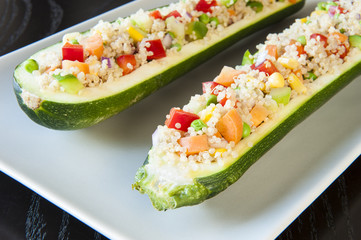Zuchinis Stuffed with Quinoa and  Vegetables