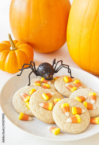 Halloween Spider with Candy Corn Cookies