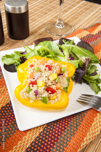 Yellow Pepper Stuffed with Quinoa and Vegetables