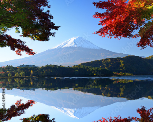 Mt. Fuji in the Autumn from Lake Kawaguchi, Japan