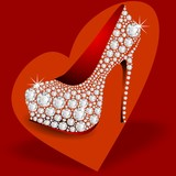 HIGH HEELS DIAMONDS WITH RED HEART