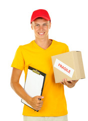 Young delivery man with parcel and clipboard, isolated on white