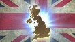 Map of United Kingdom with animated Union Jack on background\