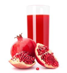 Pomegranate fruit juice in glass