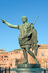 Bronze statue of emperor Caesar Augustus on Via dei Fori Imperia