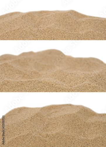 canvas print picture pile desert sand isolated on white background