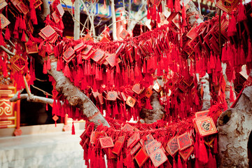 wish cards in a Buddhist temple in Beijing