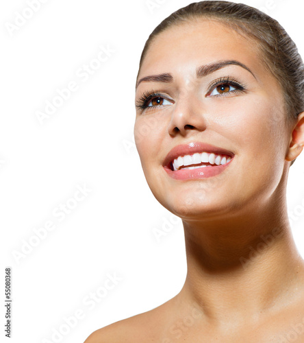 eeth Whitening. Beautiful Smiling Young Woman Portrait