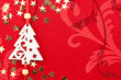 Red Christmas Background with Tree, Stars and Ornament