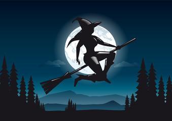 Hexe mit Besen beim Fliegen