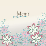 Floral Restaurant Menu  Design. Flower Pattern Cover Template