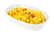 Serving bowl with cut corn and sliced peppers