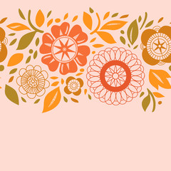 Flowers and leaves in warm pastels autumn seamless background