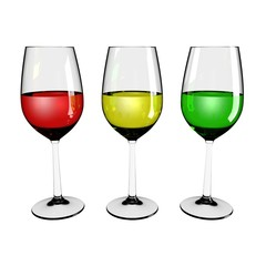 three colored wine glass