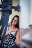 Beautiful girl posing on a background of city Kyiv
