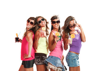four girls fun with a drink, isolated on white background