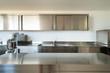 Leinwanddruck Bild - Professional kitchen, view counter  in steel