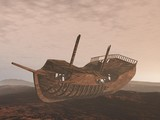 Wreck old boat on the sand - 3D render
