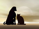 Cat and dog friendship - 3D render