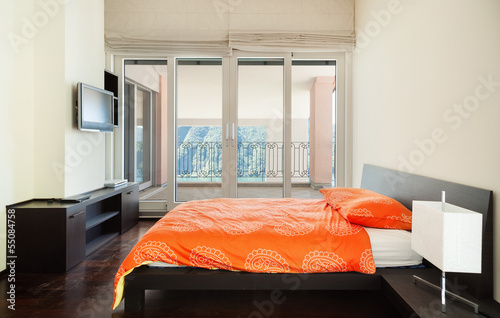interior luxury apartment, bedroom, single bed