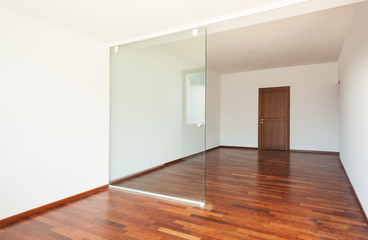 interior apartment, wide room with glass wall