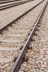 Newly laid train tracks on concrete ballasts