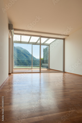 Interior apartment with garden, empty room