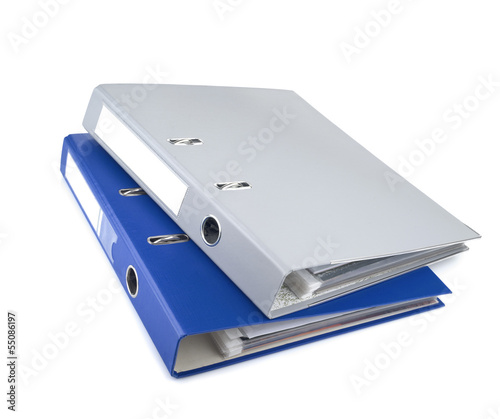 Blue and gray office folders, isolated on white background