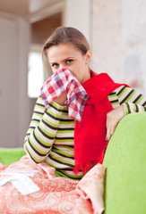 illness woman uses handkerchief