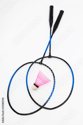 badminton racket and shuttlecock