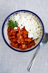 Cottage cheese and tomatoes for dietary