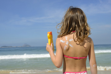 Child with sunscreen