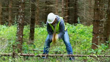 Lumberjack working in the forest with an ax episode 4