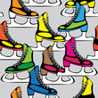 seamless pattern colored skates for figure skating
