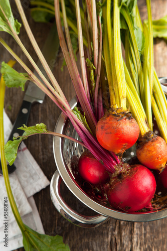 Organic red and yellow beetroots. Selective focus
