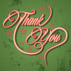 Retro Thank You greeting - vector illustration