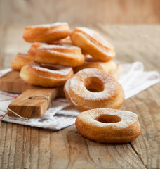Fresh donuts with powder sugar
