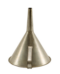 vintage aluminium funnel hopper tool isolated