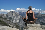 Meditating on a rock in Yosemite