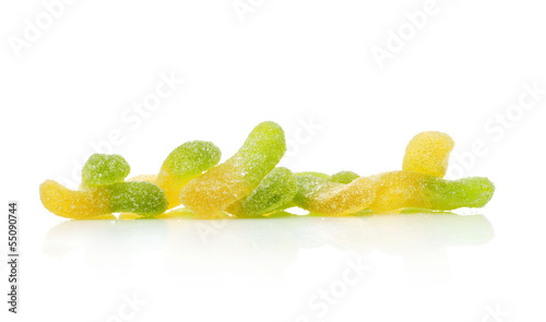 Jellied candies  isolated on white
