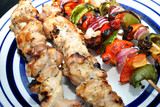 Grill Meat and Vegetable Kabobs Served