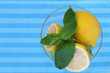 Lemon and mint with copy space