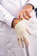 Arzt zieht Handschuhe an