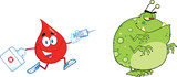 Red Blood Drop Character Chasing With A Syringe Germ Or Virus
