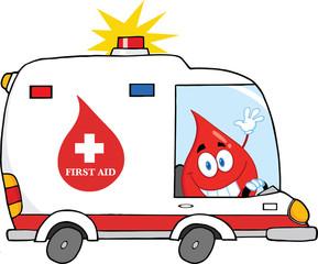 Red Blood Drop Character Driving Ambulance Car