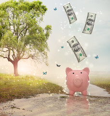 Dollar bills falling in of a piggy bank in a magical landscape